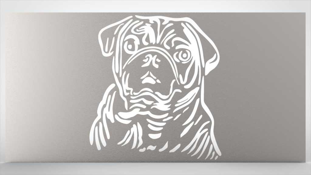 Motivlochblech Hund, Mops nach Kundenidee