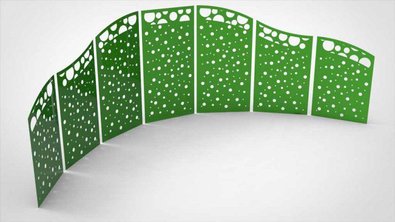Sichtschutzelement Halbkreis Seifenblasen grün