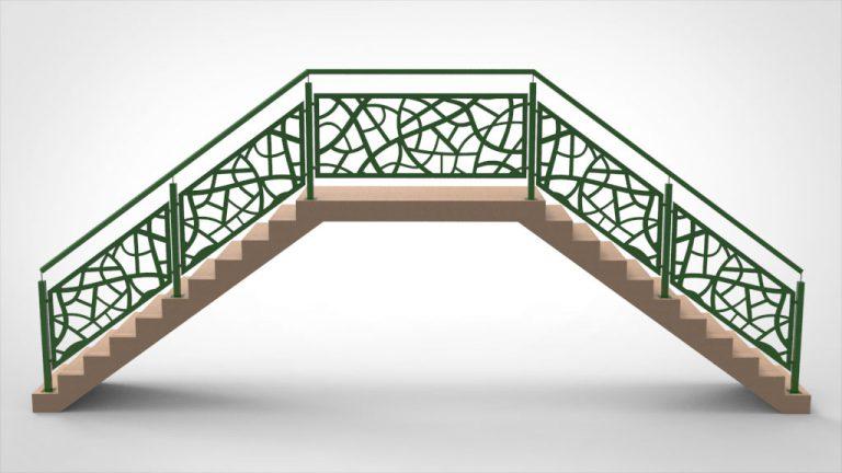 Treppengeländer Lochblech grün