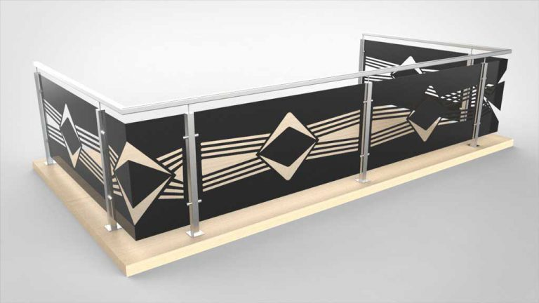 Geländerfüllung, Balkongeländer Muster Symetrie im Einklang schwarz