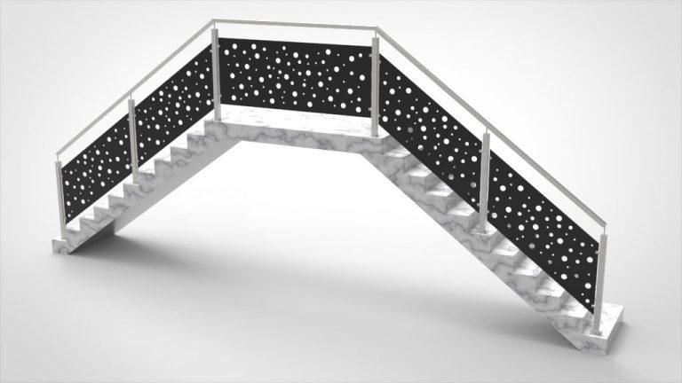 Treppengeländer Lochblech schwarz